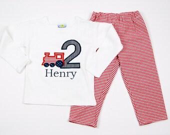 Train Birthday Shirt - First Second Third Fourth Birthday Appliqued Train T-shirt - Train Birthday Party - Red Gingham Pants - Birthday Boy