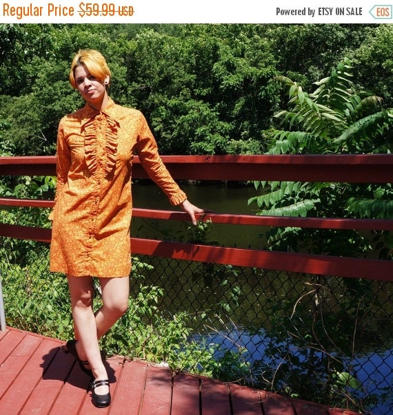 60s Orange Floral Shirt Dress- Ruffle Bib Button Down Mini- Cotton Blend- Medium- the Spectator- Made in USA