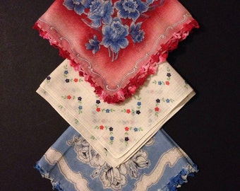 Floral Hankies - Variety of Three - Red, White, Blue - Crocheted Trim- Daffodils Roses