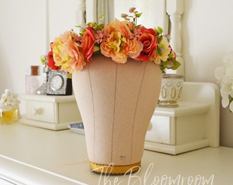 Spring flower crown / Burnt orange roses / Apricot  / Pink / Peach / Bridal shower / Festival crown / Wedding crown / Autumn flower crown