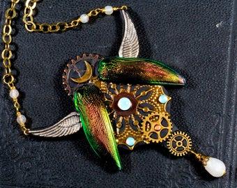 Necklace, steampunk, beetle, gear