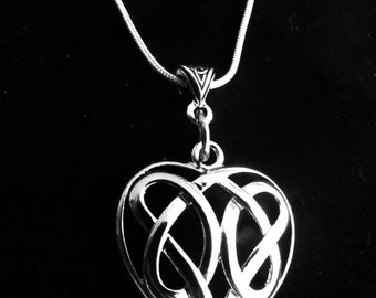 Celtic Sisters Knot Heart Necklace