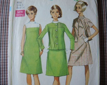Vintage 1960s Simplicity sewing pattern 7437 Misses dress and jacket size 12