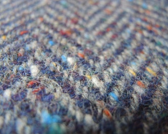 vintage thick heavy weight wool wide herringbone pattern gray and navy blue with colorful specks 60 inches wide 2 yards