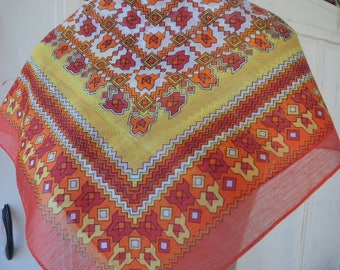 Vintage 1970s scarf slightly sheer nylon and rayon abstract warm colors orange red yellow 20.5 x 22 inches