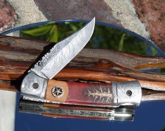 Handmade in USA Damascus Folding Hunter Knife with Dino Bone Fossil and Pine Cone Handles, Custom File Work, Leather Sheath, FREE Shipping