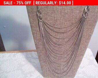 SALE Silvertone necklace, multistrand chain necklace, retro, hippie, boho