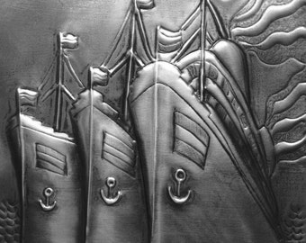 Three Ships Sailing in Pewter Repousse