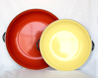 Vintage enamelware pans…casserole pans…stacking pans…yellow and red enamelware pans.
