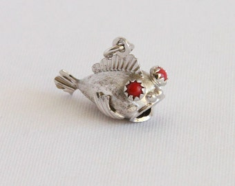 Vintage Sterling Silver Fish Charm - Blowfish Puffer Unique Looking Modern Fish 3D Form