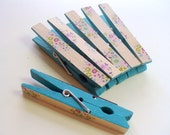 Blue Decorative Clothes Pins, Floral Design, Wooden Pegs, Large Clothes Pin Magnet, Magnet Picture Clip, Painted Clothes Pins, Flowers