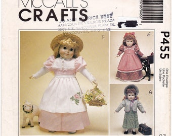 """FF 1999 -18"""" Historical Doll Clothes Cute Mary Had a Little Lamb, Dress Bonnet Jacket Pinafore Apron Sewing Pattern [McCalls P455] UNCUT"""