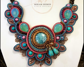 Soutache Necklace in Pink, Turquoise, Purple and Blue