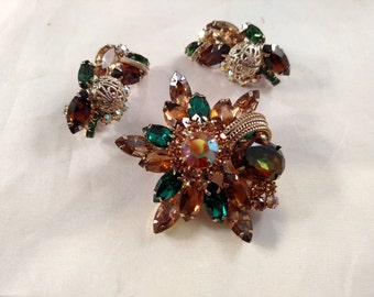 Likely Juliana Set, Brooch And Clip Earrings, Amber and Green Rhinestones