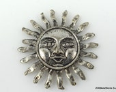 Large Pewter Sun Pendant, Antiqued Silver Sun Charm, Pewter Pendant, Focal, 31mm