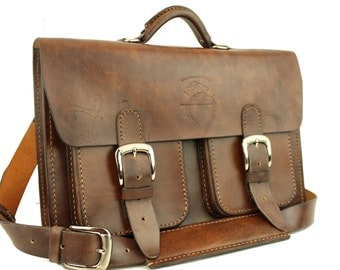 "15"" Leather Messenger Leather Bag  Leather Briefcase Leather Laptop Satchel for Macbook Pro 034"