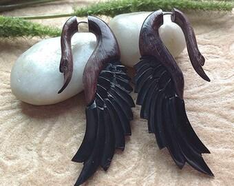 "Fake Gauge Earrings, ""Chocolate Swan"" Natural, Horn, Sono Wood, Handcrafted, Tribal"