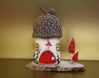 Burr Cottage needle felted miniature fairy house by JaynesLoveDoves