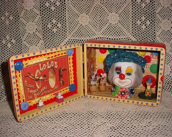 SEND In The CLOWN.... Mixed Media 3D Art Shadow Box DIORAMA Recycled Stuff Cigar Box Assemblage