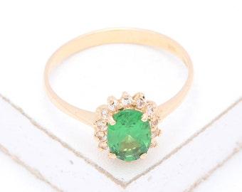 Tsavorite Green Garnet & Diamond Engagement Ring in 14K or 18K Gold (1.15ct tw) : sku 941 (Watch Video)