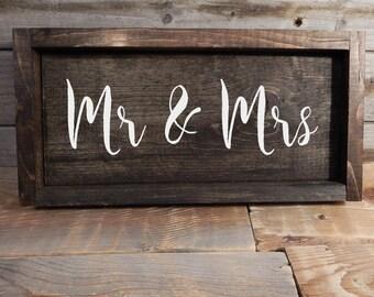 Mr. & Mrs. Wood framed Wedding Sign.