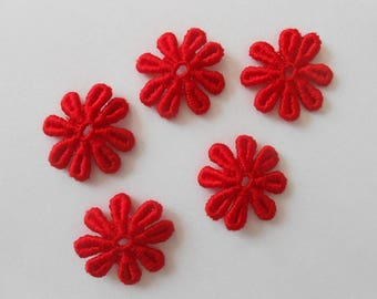 5 flowers red lace of 2.5 cm