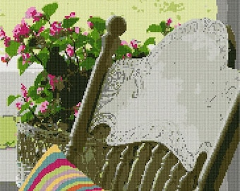 Needlepoint Kit or Canvas: Pillow Seat