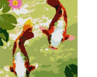 Needlepoint Kit or Canvas: Koi Pair