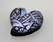 Reserved for Elaine H, Dichroic Heart Cabochon, Dichroic Cab, Jewelry Cab, Pocket Heart, Glass Heart Cab, Purple Heart Tile