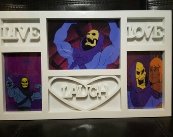 SALE! Live Love Laugh Skeletor Photo Picture Frame - Masters of the Universe Meme