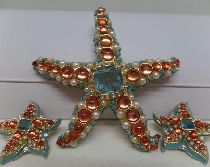KJL Kenneth Jay Lane Cabochon Star Fish Brooch and Pierced Earrings