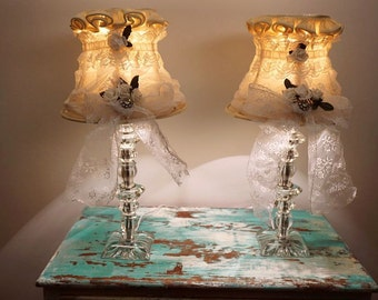 Crystal table lamps set French shabby cottage lampshades adorned vintage lace white flowers lighting lamp shades decor anita spero design