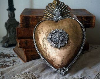 Metal heart trinket box large French Santos wall or table accent piece locket style rhinestone embellished home decor anita spero design