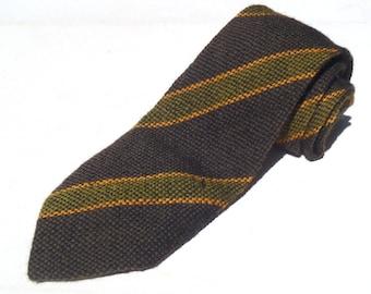 Vintage 1940s Green Gold Woven Swing Era Rayon Tie Los Wigwam El Denver