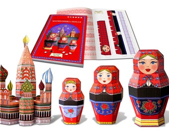 NEW! Happy Paper Toys- Matryoshka Dolls- Nesting Russian Paper Dolls,construction die-cut 3d models, 3 dolls S/M/L & Saint Vasily Cathedral