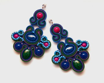 Chandelier earrings mexican, large unique earrings, bohemian beading earrings colorful, dangle chandelier earrings, Frida Kahlo, soutache.