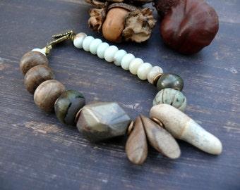 Soft Winds of Spring - OOAK artisan ceramic, mooakite, wood, polymer clay, aquamarine and bronze rustic organic bracelet.