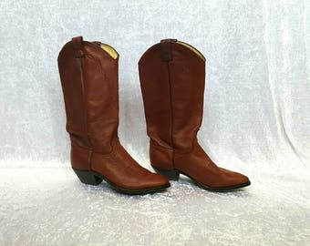 COWBOY BOOTS Genuine Leather Boots Garnet Boots Cowgirl Boots Vintage Cowboys Boots Cowgirl Leather Boots