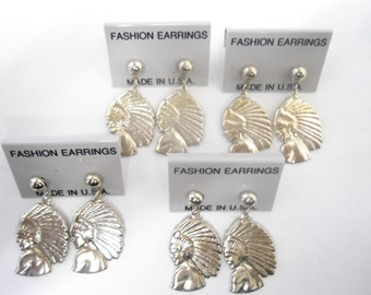 6 Pairs of Silverplated Indian Head Earrings