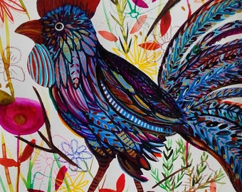 Rooster Painting Blue Rooster Original Art Rooster Fine Art Rooster Wall Art Rooster Home Decor Animal Art Bird Painting Cute Bird