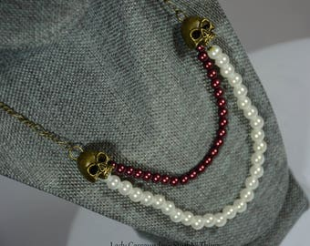 Double bronze skull pearl necklace