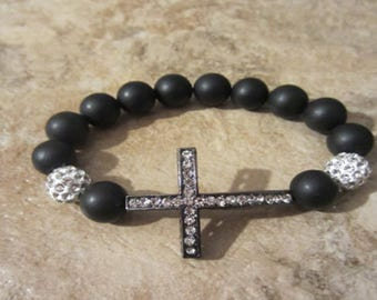 Sideways Cross Bracelet. Onyx Bracelet. Side Cross. Men's Jewelry. Protection. Stretch Bracelet. Beaded Bracelet.