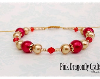 Red and Gold Glass Pearl and Crystal Adjustable Macramé Bracelet - BR5