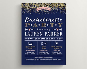 Printable Bachelorette Party, Lingerie Shower Invitation \ Gold glitter with Navy and Pink (BR197)