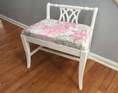 Vintage Mid Century Upholstered Vanity Piano Dressing Bench Stool Chair Seat - Shabby Chic Woman Girls Room White Pink Tan Bedroom