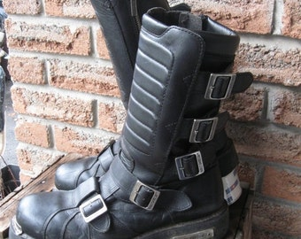 SALE 1990s Harley Davidson High Top Men's Boots, Hard core tough, Buckles, Thick Vibram soles, Shin guard thick padded Men US 12-13 Biker bo