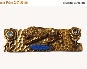 Gold Lion Bar Brooch - Blue rhinestone - Flower art glass - C clasp - Vintage Artisan pin - Art Nouveau