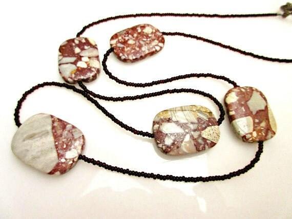 Jasper Breccia bead necklace - Red white Gemstone  - Black  seed beads handmade