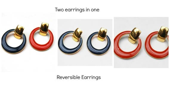 Reversible Hoop earrings - Red Blue Enamel -Gold Metal  - pierced Earrings Two earrings in one