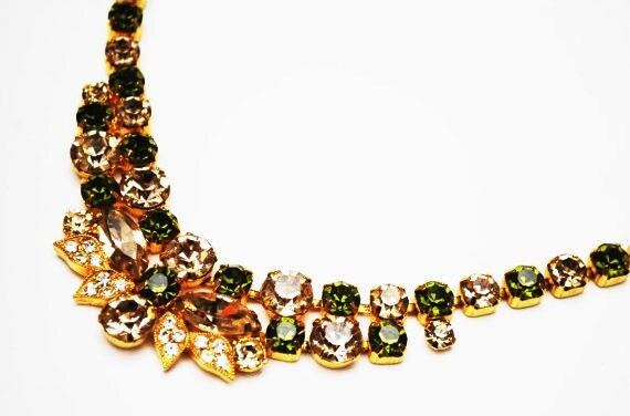 Eisenberg Ice Rhinestone Necklace - Green Clear stones - gold plated setting - vintage designer signed